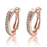 Souarts Damen Ohrringe rose vergoldet mit Künstliche Diamanten Kreis Ohrsteck 2.2cm