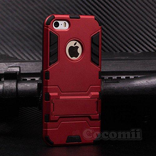 iPhone SE / 5S / 5C / 5 Coque, Cocomii® [HEAVY DUTY] Iron Man Case :::NOUVEAU::: [ULTRA DE GUERRE ARMURE] Premium Résistant Aux Chocs Kickstand Bumper [DÉFENSEUR MILITAIRES] Corps Plein Robuste Hybrid Red