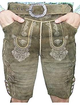 Hochwertige Kurze Lederhose Allersberg crunch/taiga - Kurze Lederhose für Herren aus Ziegenveloursleder - Marken...
