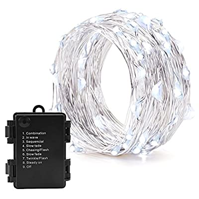 3M 30LED Battery Operated Fairy Lights, Oak Leaf 8 Modes String light Flexible Silver Wire With Timer Setting Powered by 3AA batteries for Vase Jar Christmas Wedding Bedroom DIY Decoration from Oak Leaf