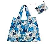 Borsa della spesa pieghevole, Teoyall riutilizzabile Grocery bag grande Eco friendly Heavy Duty lavabile Tote Blue Cats