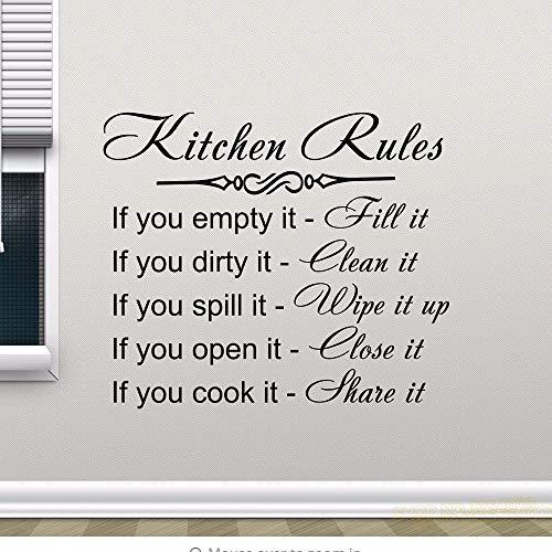 Dwqlx Küche Regeln Wandtattoo Dekor Zeichen Zitat Vinyl Aufkleber Poster Home Geschenke Abnehmbare Kunstwandhauptdekoration Wandtattoos 57 * 65 Cm