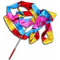 Ukallaite 4m Colorful danza cinta Streamer–Barras de gimnasia Twirling mano Grips para las niñas, Flame Colorful, talla única