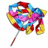 Ukallaite 4m coloré ruban de danse Streamer Barres de gymnastique dansante Poignées pour filles, Flame Colorful, taille unique