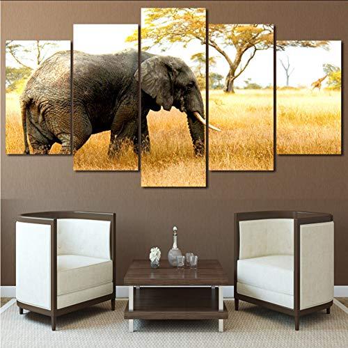 chellonm Sala De Estar HD Impreso Pintura Posters Marco 5 Panel Elefantes...