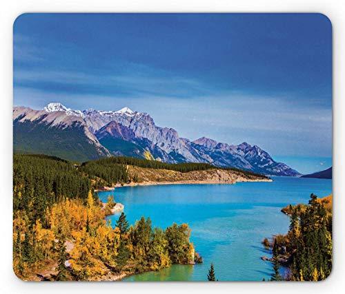 Landschaft Mauspad, Rocky Mountains Kanada Crystal Clear Abraham Lake malerischen Naturansichten Szene, Standardgröße Rechteck Rutschfeste Gummi Mousepad, Multicolor,Gummimatte 11,8