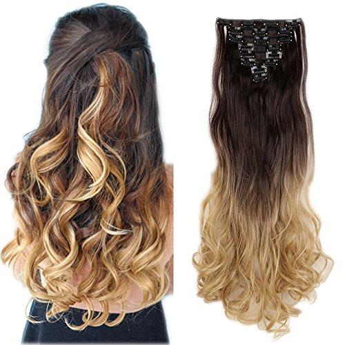 60cm extension capelli clip mossi 140g full head 8 fasce con 18 clips capelli sintetici extensions - marrone scuro a biondo cenere