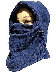 Casco de cálido de cuello de Mejilla Unisex invierno Cara Sombrero Fleece Capucha Máscara de esquí Equipo, máscara de esquí cálido Casco, azul marino