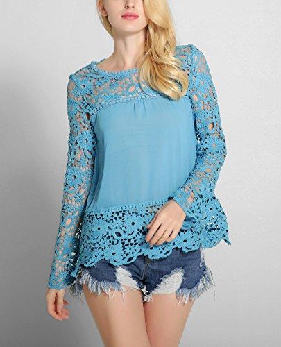 Minetom Femme Col Rond Manches Longues Blouse Dentelle Crochet Hauts Chemise Élégant Creux Shirt Bleu