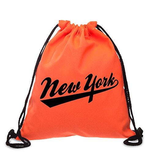 Beutel Loomiloo New York VIELE FARBEN Schwarz Weiß Neon Pink Grün Orange Big Apple NYC Statement Print Aufdruck Beutel Stringbag Tasche Rucksack Festival (Neon - Apple-weiß-kleidung