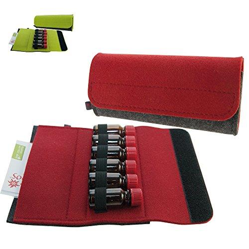 Premium Taschenapotheke von ebos | handgefertigte Reiseapotheke aus echtem Wollfilz | 6 Schlaufen für 10 ml Globuli-Fläschchen, Globuli-Röhrchen | Globuli-Tasche, Globuli-Etui, Globuli-Mäppchen, Globuli-Täschchen als Set zur Aufbewahrung von homöopathischer Hausapotheke | rot (Handgefertigte Tasche Rote)