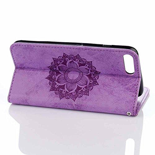 iPhone 8 Plus Custodia,COOSTOREEU Mandala Embossing Premium PU Custodia in Pelle Card Slot Magnetica Portafoglio Flip per iPhone 8 Plus,Porpora Porpora