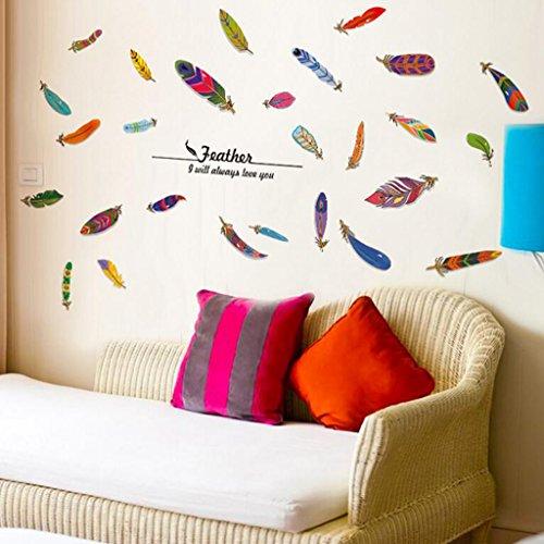 Longless Lucky Feather Wand Aufkleber, kreative Heimwerker, Haus Verschönerung dekorative Aufkleber, PVC Abnehmbare wasserdichte Aufkleber