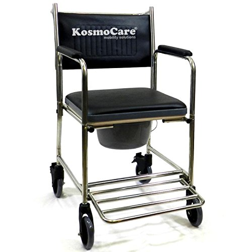 KosmoCare Propellor - Stainless steel Shower cum Commode Premium Imported Wheelchair RMR202