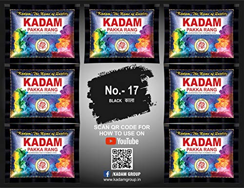 KADAM DISTRIBUTER'S Fabric Dies Colours Pack of 10 Pouches (Shade 17 Black)