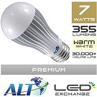 A19 ultimo LED STOCK!-ALT tradizionale di qualità Premium Super, GLOBE, E27, 7W, 355 lumen (51 lm/W, luce bianca calda, ampio angolo di emissione 180º, sostituzione diretta per 40W incandescent. Best nel mondo