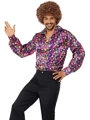Luxuspiraten - Herren Männer 60er Jahre CND psychedelisches Hippie Flower Power Kostüm mit glänzendem Hemd, perfekt für Karneval, Fasching und Fastnacht, XL, Pink (Psychedelische Hippie Kostüm)