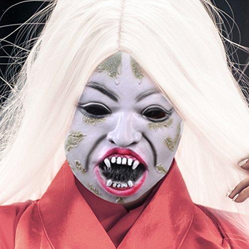 Halloween Super Horror Maske Tanz Dress Up Requisiten Sadako Maske Weißes Haar Hexe Blue Vampire Maske,A2