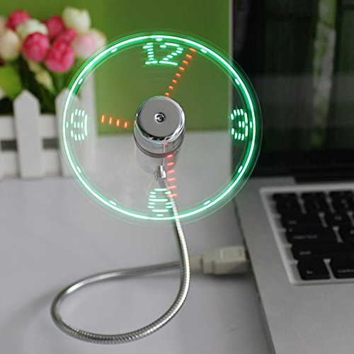 huiheng Mini USB Ventilator, Mini USB LED Clock Fan Message Fan mit Flexibler Schwanenhals LED Display Erinnerung Funktion for PC Laptop Notebook Desktops