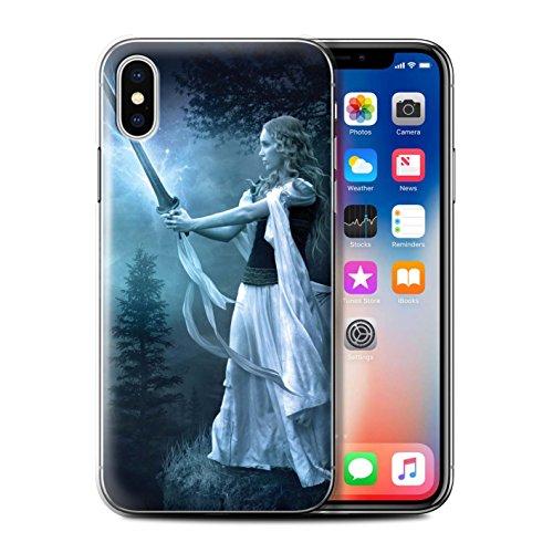 Officiel Elena Dudina Coque / Etui pour Apple iPhone X/10 / Amazona Design / Super Héroïne Collection Épée Magique