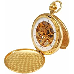 Woodford Skeleton Full-Hunter Pocket Watch, 1022, Men's Gold-Plated Self-standing wIth Chain (Suitable for Engraving)