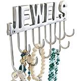 """Schmuckhalter Wandhaken mit Schriftzug """"Jewels"""" für Ketten & Schmuck, Metall, ca. B20 x T4 x H12 cm"""