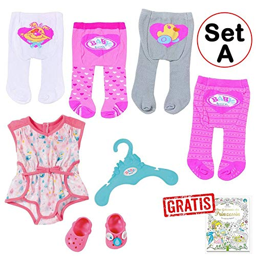 Zapf - Baby Born - Kleidungsset mit 4 Strumpfhosen + Pyjama mit Clogs (Set A)