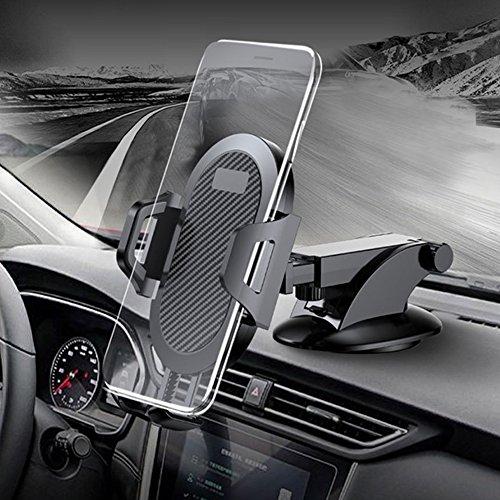 kuuboo KFZ-Halterung, Gravity Universal Air Vent Handy Halterung stabile KFZ-Halterung Windschutzscheibe Auto Handy Halterung Mit Extra Armaturenbrett Boden und langen Flexibler Arm Cars Cradle für iPhone X/8/7//6S/Plus, Galaxy S9/S8/S7Edge, Note 8/5/4, LG/G6/V20, Nexus