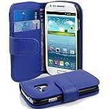 Cadorabo - Funda Samsung Galaxy S3 MINI (I8190) Book Style de Cuero Sintético en Diseño Libro - Etui Case Cover Carcasa Caja Protección con Tarjetero en AZUL-REAL
