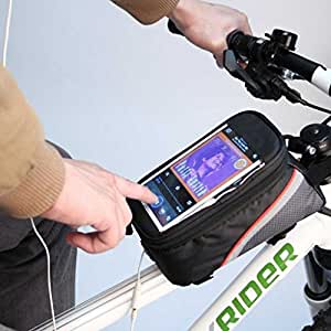 FUN n SHOP Bike Bicycle Front Frame Top Tube Bag with Touch Screen Pocket for 5.5-inch Mobile Phones