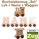 Buchstabenzug Namens-Set Lok + Yero + Endwaggon   EbyReo Namenszug aus Holz   personalisierbar   Geschenk zur Geburt   Taufgeschenk   Geschenk zu Einschulung (Yero)