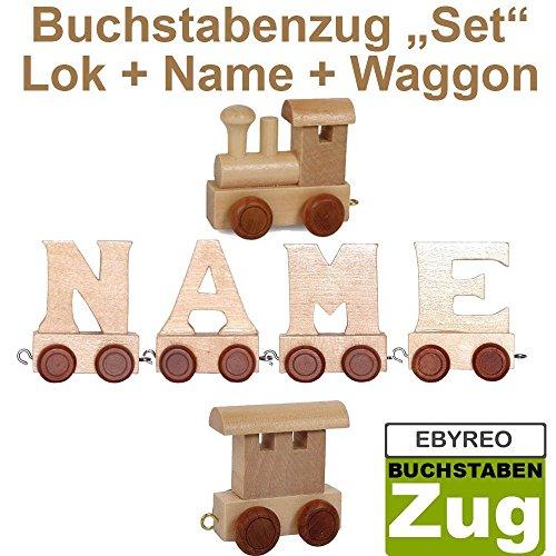 Buchstabenzug Namens-Set Lok + Helmut + Endwaggon | EbyReo® Namenszug aus Holz | personalisierbar | Geschenk zur Geburt | Taufgeschenk | Geschenk zu Einschulung (Helmut)