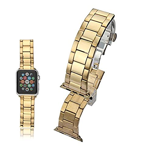 Yaha 38mm Stainless Steel Classic Buckle Watch Strap Band Replacement for Apple Watch Sport Edition 38mm (38mm, Gold)