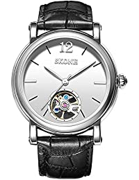 SKONE Classic Automatic Mechanical Mens Watch with Simple Scale Genuine Leather Strap 30m Waterproof (Black White)