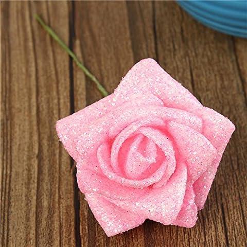 Bluelover 6 colores artificial BRICOLAJE rosa flor ramo artes espuma Flores simulación rose - rosa
