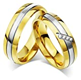 Damen-Ring Titan 18K Vergoldet Minimal Ehering Zirkonia Paarringe Gold Größe 52 AnaZoz Schmuck