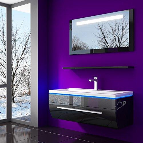 70 cm Schwarz Badmöbelset Vormontiert Badezimmermöbel Waschbeckenschrank mit Waschtisch Spiegel