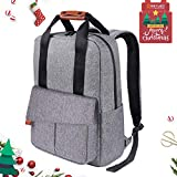 REYLEO Business Laptop Backpack 15.6 Anti-Theft Notebook Rucksack Casual Daypack with Leather Handle for Women Men - Grey (RB23)