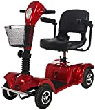 4 Wheel Electric Mobility Scooter Folding Lightweight,Foldable Wheelchair Wide Seat,Seniors Power Chair Travel Portable Heavy,180w 12ah Batterry Endurance 18 Km