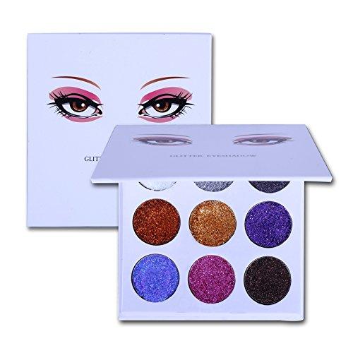 ROMANTIC BEAR Lidschatten Palette Glitzer Stil, Shimmer Eyeshadow With Makeup Spiegel 9 Farbe