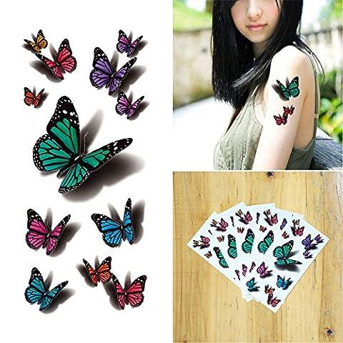 COKOHAPPY 3D Temporaire Tatouage 5 Feuilles 3D En volant Papillon Long Lasting Flash Tatouage Corps