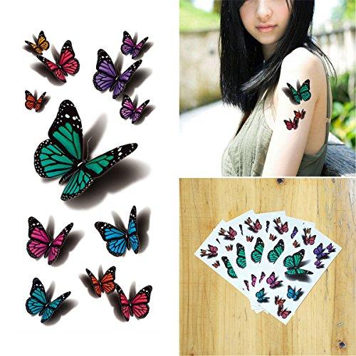 �re Tattoo 5 Blätter 3D Fliegend Schmetterling Long Lasting Flash Tattoo Körper Art (Mädchen, Die Tote Braut Halloween-kostüme)