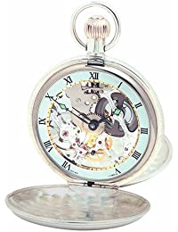 Woodford Swiss-Made Skeleton Pocket Watch, 1066, Men's Twin-Lidded Sterling Silver  with Albert (Suitable for Engraving)