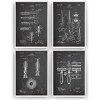 Rasage Affiche De Brevet - Lot De 4 Affiches - Impressions Prints Art Coiffeur barbe barbiche bouc Patent Posters Poster Cadeaux Pour Hommes Décor Femmes Lui Blueprint Plan - Cadre Non Inclus