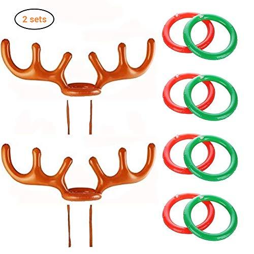 EisEyen Weihnachten Hut Aufblasbare Rentier Elk Geweih Hut Ringwurf Toss Spiel Kinder Spielzeug 2 Geweih, 8 Ringe