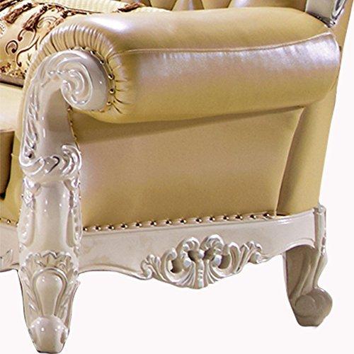 Ma Xiaoying echtem Leder und Luxus klassischen Collection 3-teiliges Set (Sofa, Stuhl und Liebesschaukel) hellgelb by MA Xiaoying - 6