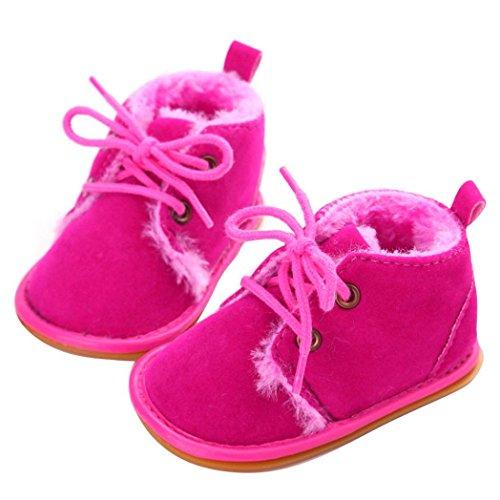 Mingfa Baby-Winterstiefel, warme und dicke Kleinkinder-Fellschneeschuhe zum Schnüren für Jungen und Mädchen, für das Kinderbett, erste Laufschuhe für 0 - 18Monate Age:6~12 Month hot pink