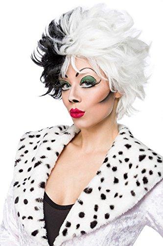 Kostüm Fancy Dalmation Dress - Fasching-Perücke `Evil Dalmatian Lady` by MASK PARADISE - zweifarbiger Kontrast-Look - wilde Kurzhaarperücke - A80023, Schwarz/Weiß, onesize (Sw 28)