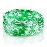 Firecore LED Kupferdraht batteriebetrieben 2 Pack 5 m/16.4 ft 50 LEDs Lichterkette für Weihnachtsdekoration, grün, 2pack