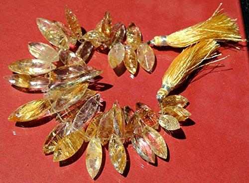 15,2cm di qualità d' oro quarzo rutilato sfaccettato taglio marquise pietra briolettes 12x 7–31x 7mm